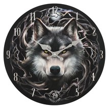 MDF Night Forest Wolf Wall Clock 13930 - $18.90