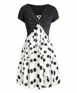 CELLABIE Women's Crop Top & White Polka Dot Sleeveless Dress (Black/Whit... - $36.00
