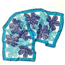 Vintage Vera Scarf Rectangular Floral Long Scarf 43 x 14 Blue Aqua White - $370,27 MXN