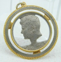 VTG Gold Silver Tone 1974 JFK Kennedy Half Dollar Cut Out Pendant - $35.64