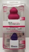 New REAL TECHNIQUES 2 Miracle Sponges + 2 Stands Sculpt Perfect Eraser  - $8.49