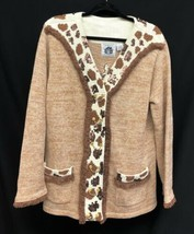 Storybook Knits Size Large Safari Giraffe Womens Ramie/Cotton Cardigan S... - $37.05