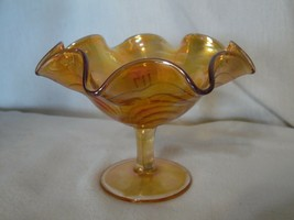 "Vintage Imperial Scroll Embossed Carnival Glass Marigold Compote  4.5""  - $26.51"