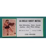 PIN-UP Girl Youthful Bronco & AD La Belle Sheet Metal - 1960s INK BLOTTER - $6.35