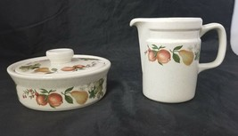 Wedgwood Quince Creamer & Sugar Bowl w Lid Made in England Oven to Table... - $33.85