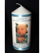 Cellini Candles Godson Christening Gift Photo Candle Unique Keepsake #1 - $21.77