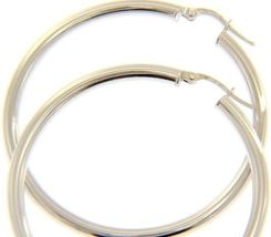 18K WHITE GOLD ROUND CIRCLE EARRINGS DIAMETER 40 MM, WIDTH 3 MM, MADE IN ITALY image 4