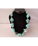Turquoise Chunk Necklace From Morocco Statement Boho Stone Jewelry - $101.83