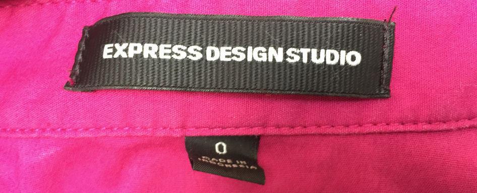 Express 0 Shirt Dress Magenta Sheath 3/4 Sleeve Mini Cotton Stretch image 4