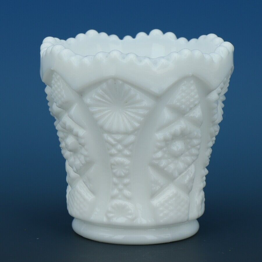Vintage Imperial Milk Glass Octagon Pattern Toothpick Holder