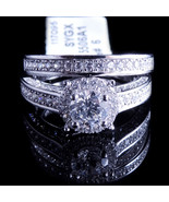 Ladies 14K White Gold Fn Lab Diamond Solitaire Enagement Ring Two Infini... - $79.99
