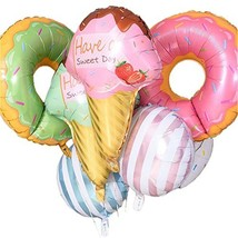 8 Pack Large Sweet Ice Cream Striped Candy Balloons, Round Doughnut Dess... - $17.12