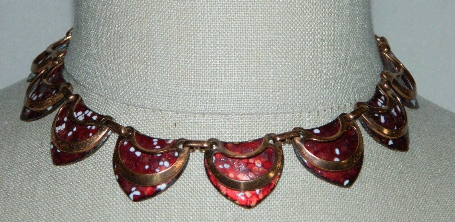 Primary image for VTG MATISSE Renoir SHIELD Copper Red Enamel Necklace