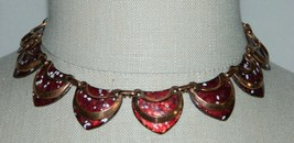 VTG MATISSE Renoir SHIELD Copper Red Enamel Necklace - $99.00