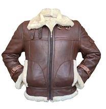 B3 RAF Aviator Pilot Sheepskin Bomber Flying Fur Shearling Brown Leather Jacket image 1