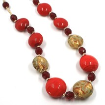 """NECKLACE RED YELLOW MURANO GLASS DISC & GOLD LEAF, MADE IN ITALY, 50cm, 20"""" image 2"""