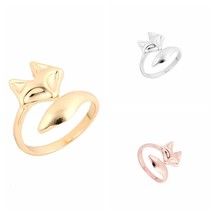 Rival fashion gold color adjustable cute animal fox ring simple wedding rings for women thumb200