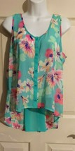 Candies Mint Green Floral Sheer Sleeveless Tunic Top Blouse Size Large - $17.82