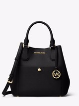 Michael Kors Greenwich Grab Bag Satchel Tote saffiano leather Black Whit... - $162.85