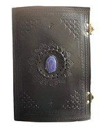 Embossed Handmade Leather Blue Stone Unlined Journal Travel Diary Notebo... - $27.96