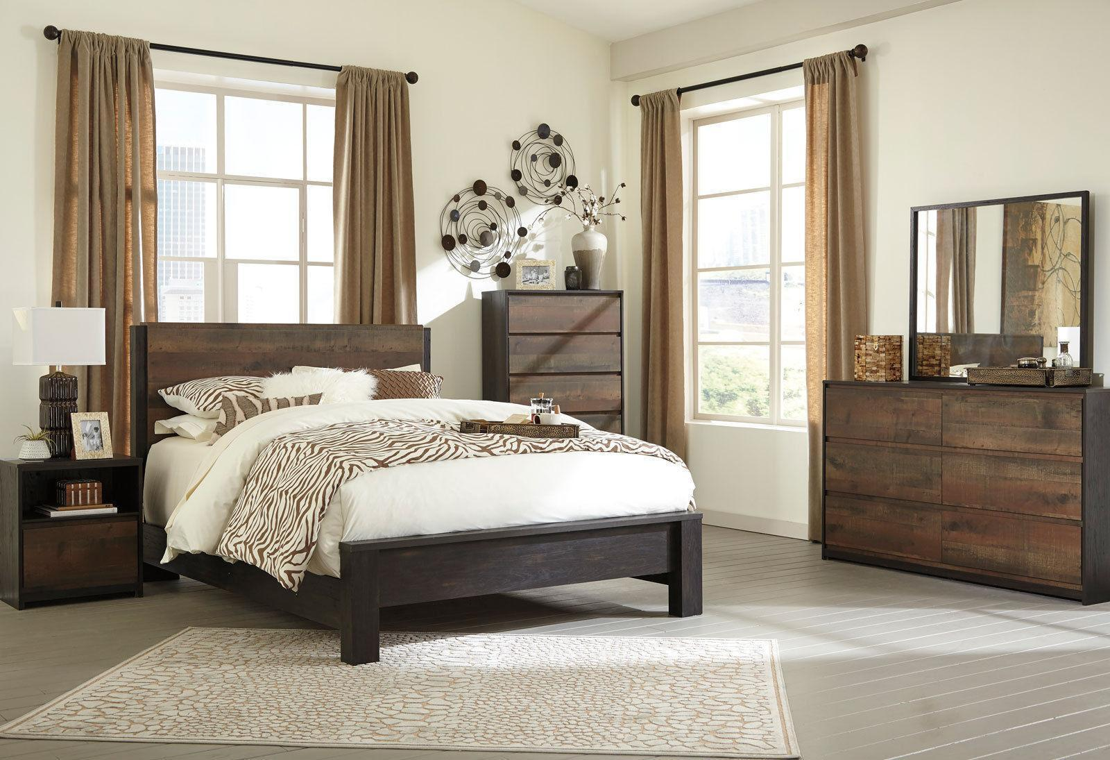 SORENTO 5 Piece Brown Bedroom Set Furniture W/ King Size Panel Headboard Bed  NEW