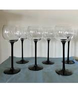 "Deep Red / Black Stem Crystal Wine Glasses - 9 1/4"" TALL - Set of 6 - $37.39"