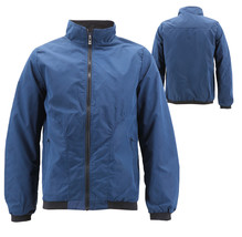 Men's Casual Lightweight Stand Collar Gym Fitness Zipper Navy Track Jacket image 1