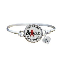 Custom HIV Aids Awareness Believe Silver Bracelet Jewelry Choose Initial... - $13.80+