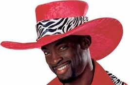 BIG BRIMMED RED VELOUR MAC DADDY HAT WITH ZEBRA HATBAND - $20.00