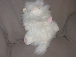 "Vintage Ganz Bros Stuffed Plush White Fluffy Persian Googles Cat 1988 15"" 23"" - $55.48"