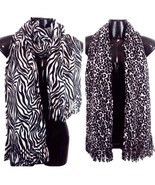 Leopard & Zebra Ladies Women's Two Black & White Fringed Scarves NWOT - $23.00