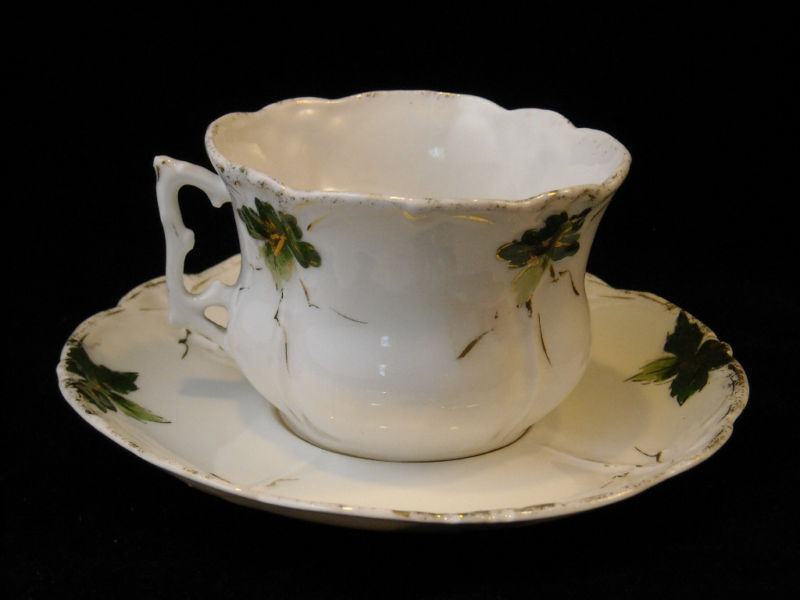 Tea Cup Saucer Set White Glaze green gold leaf design vintage violets