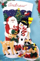 "Jumbo 28"" Santa and Snowman Deer Raccoon Felt Stocking Kit Bucilla  83119 R - $99.95"
