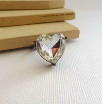 Retro Vintage Heart Shaped Clear Glass Stone Gunmetal Silver Ring Size 1... - $14.44