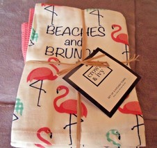 NEW Set 3 FLAMINGO Kitchen TOWELS Beaches & Brunch By CROWN & IVY Tropic... - $19.30