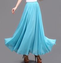 AQUA BLUE Long Chiffon Skirt High Waisted Full Circle Wedding Bridesmaid Skirt image 11