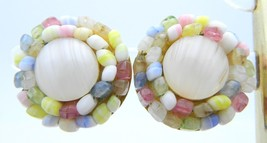 VTG CROWN TRIFARI Sign Gold Tone Multi Color Beaded Art Glass Clip Earrings - $17.82