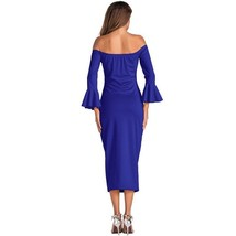 Sexy Off Shoulder Body Con Mid Calf Length Dress For Women Flare Sleeve Slim Fit - $26.99