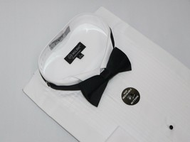 Men/'s Tuxedo Pastor shirt Classix  Banded Collarless Formal Pleated M06 White