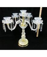 """Crystal Candelabra Candlestick Dinner Taper Brass 5 Holder Arms 20"""" Cent... - $197.95"""