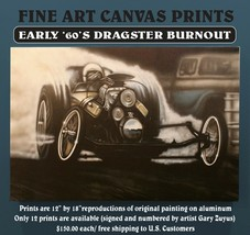 """Vintage Front Engine Dragster Canvas Print Reproduction 12"""" x 18"""" - $140.25"""