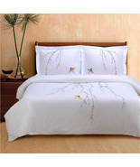 King/Cal King Spring 100% Cotton White w/ Nature Embroidery Duvet Cover Set - $74.95