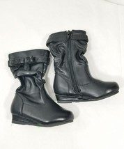 NEW Wonderkids Toddler Girls Slouch Pull On  Zip Up Boots Casual Black S... - $198,24 MXN
