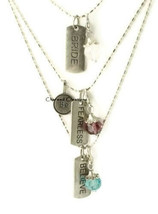 YOU PICK Dog Tag Necklace Birthstone Be Fearless Believe Hope Bride Surv... - $9.99