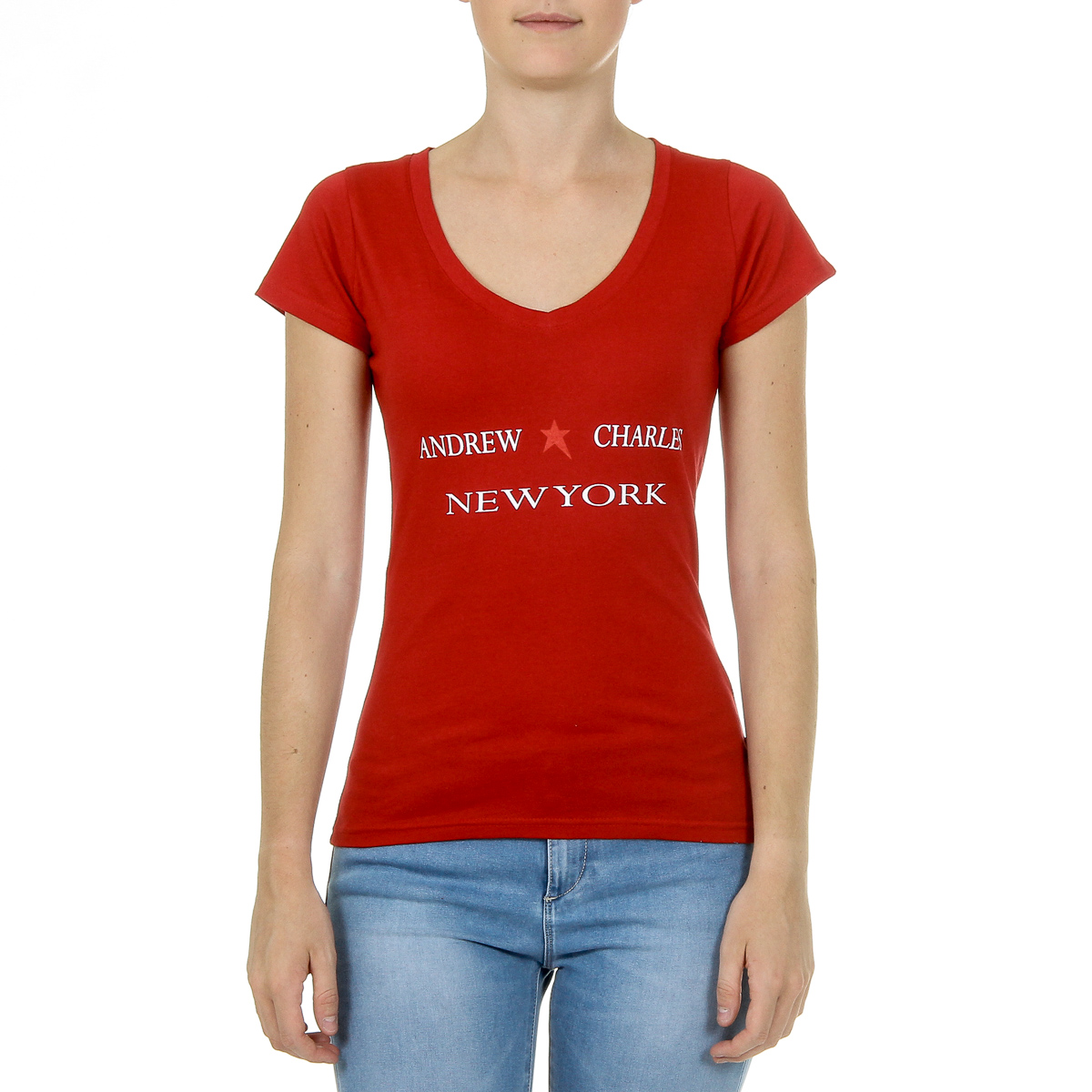 Primary image for Andrew Charles Womens T-Shirt Short Sleeves V-Neck Red TAPIWA