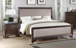 McFerran B507 Traditional Walnut Finish & Linen Fabric Queen Bedroom Set 3Pcs