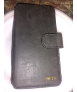 "BRG Brand black faux leather wallet card & cell holder 6.25"" x 3.5"" x 1"" - $13.00"