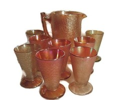 Marigold Carnival Jeanette Glass Co Water Pitcher & 8 Tumblers Set - $40.00