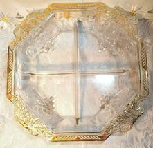 VINTAGE 4 SECTION DIVIDED OCTAGON GLASS BOWL - GRAPE AND LEAVES DESIGN GOLD TRIM image 4