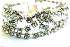 "Vintage Silver Tone Clear Brilliant Crystal Rhinestone Wide Bracelet 7""L - $35.64"